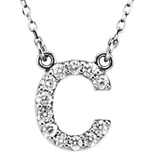 14K Blanc Lettre «C» 1/6Outlet-40,6cm-Collier Femme-diamant