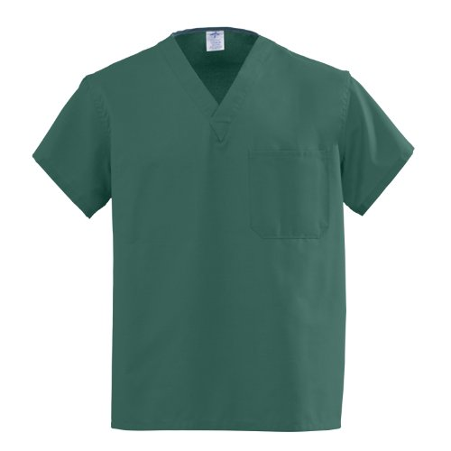 Medline AngelStat Reversible V-Neck Scrub Top, ANG-CC, Small, Hunter Green