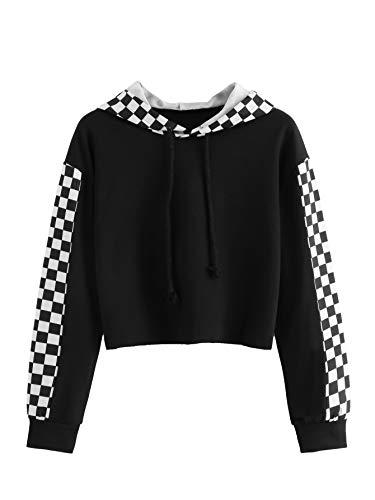 MAKEMECHIC Women's Pineapple Embroidered Hoodie Plaid Crop Top Sweatshirt Black-5 XL