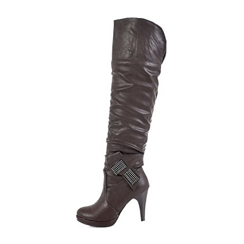 AgooLar Womens High Heels Solid Round Closed Toe Soft Material Pull-on Boots Darkbrown auYD7ZK