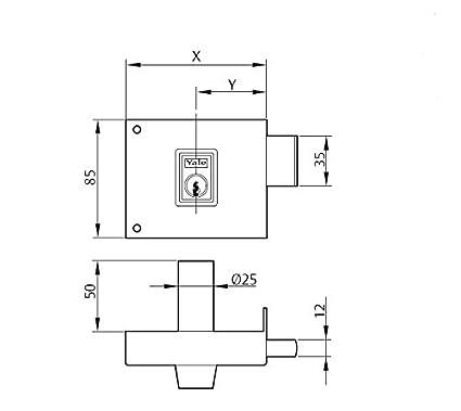 Hierro Pintado 125 // Izquierda 1250120IHP. Cerradura de Sobreponer Est/ándar 120 mm Yale