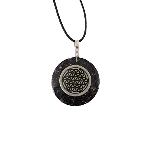 - Aatm Chakra Healing Black Orgone Pendant with Happiness Symbol for Protection from Negative Energies and Meditation in Round Shape