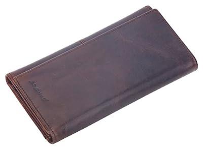 Mens RFID Blocking Wallet Vintage Genuine Leather Trifold Long Wallet Card Holder
