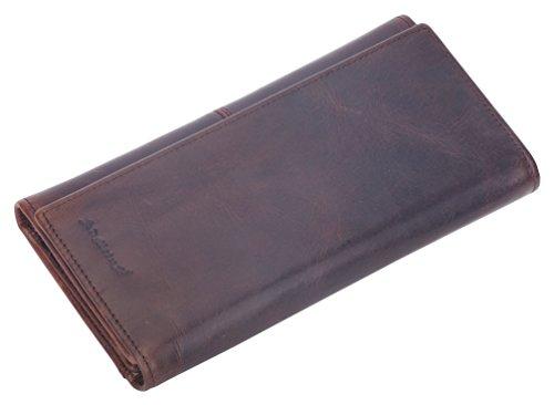 Mens RFID Blocking Wallet Vintage Genuine Leather Long Wallet Card Holder Trifold ()