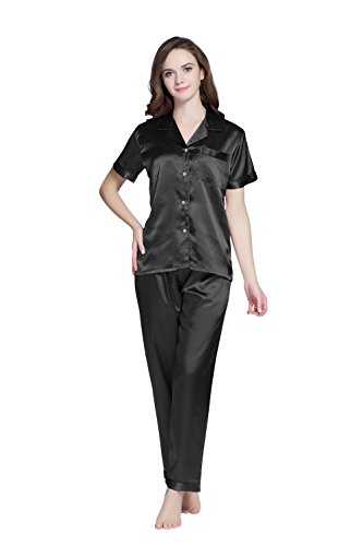 TONY AND CANDICE Women's Pajama Set, Short Sleeve Satin Sleepwear (Black, M) -