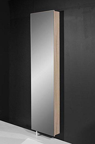 Spiegelschuhschrank / Mehrzweckdrehschrank in Sonoma-Eiche-Nachbildung mit Spiegelfront, Maße: B/H/T ca. 50/195/18 cm
