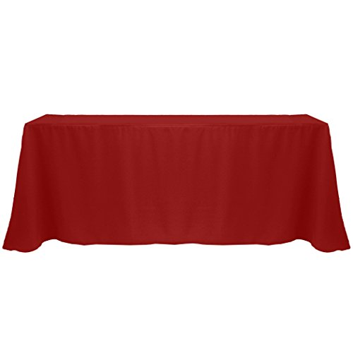 Ultimate Textile (10 Pack) 90 x 132-Inch Rectangular Polyester Linen Tablecloth with Rounded Corners - for Wedding, Restaurant or Banquet use, Cherry Red by Ultimate Textile