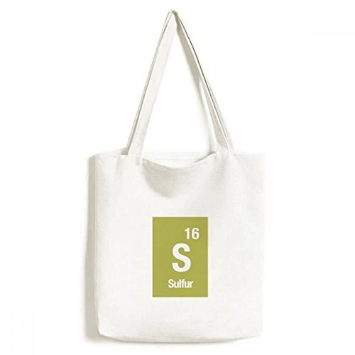 S Sulfur Chemical Element Science Environmentally Tote Canvas Bag Shopping Handbag Craft Washable