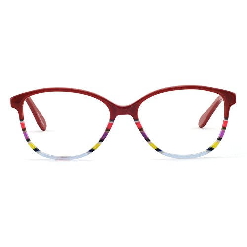 OCCI CHIARI Fashion Oval Acetate Eyeglasses Frame With Clear Lenses (Red pattern, 52)
