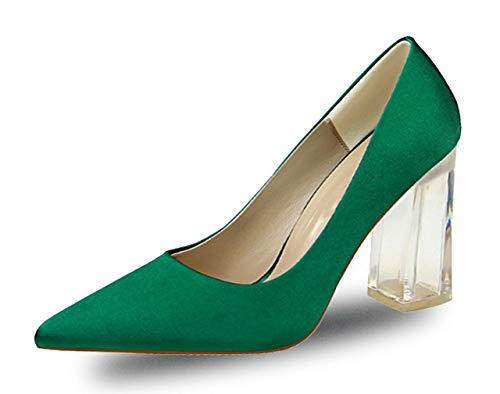 Womens Pointed Toe Clear Block High Heel Dress Pumps Shoes for Party Prom Wedding Green Size US9 EU41 -