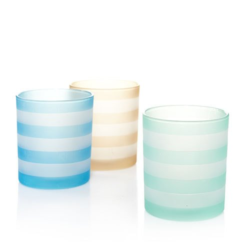Yankee Candle Votive Holder Into Port Striped Set of 3
