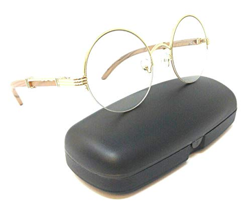 Professor Half Rim Round Metal & Wood Eyeglasses/Clear Lens Sunglasses (Rose Gold & Light Brown Wood Frame w/Case, Clear)