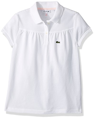 Lacoste Little Girls' Pique Polo With Eyelet Details, White/Flamingo, - Polos Pique Girls Solid