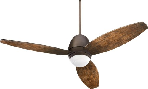 Quorum International 142523-86 Bronx 3-Blade Patio Ceiling Fan with Walnut ABS Blades and Integrated Light Kit, 52-Inch, Oiled Bronze Finish