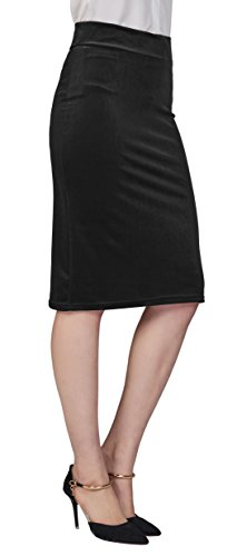 Urban CoCo Women's Elastic Waist Stretch Velvet Bodycon Pencil Skirt (S, Black-Midi)