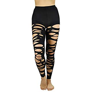 ToBeInStyle Women's Punk Tattered Footless Tights - Black - OS
