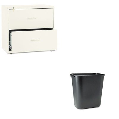 Soft Molded Plastic Wastebaskets (KITBSX432LLRCP295600BK - Value Kit - Basyx 400 Series Two-Drawer Lateral File (BSX432LL) and Rubbermaid-Black Soft Molded Plastic Wastebasket, 28 1/8 Quart (RCP295600BK))