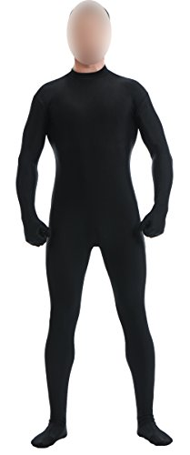 [Ensnovo Mens Mock Neck Full Body Unitard Spandex Zentai Suits Costumes Black L] (Black Bodysuit Costume)