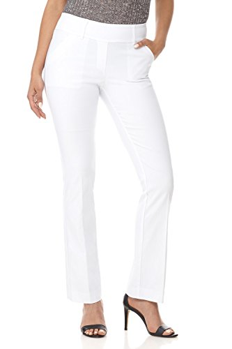 Rekucci Women's Ease in to Comfort Fit Classic Bootcut Pant w/Tummy Control (8,White)