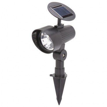 Solar Spotlight with 3 LED Lamps and Adjustable Solar Panel (Stake in the Gorund or Mount on the Wall)
