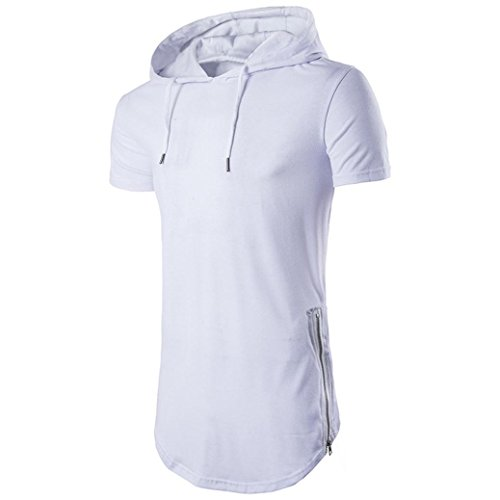 (FUNIC Mens Hipster Hip Hop Shirt, Short Sleeve Longline Pullover Hoodies Blouse (Small, White))