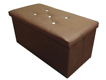 FOLDING BROWN LEATHER OTTOMAN 2 SEATER LARGE STORAGE POUFFE SEAT STOOL BOX