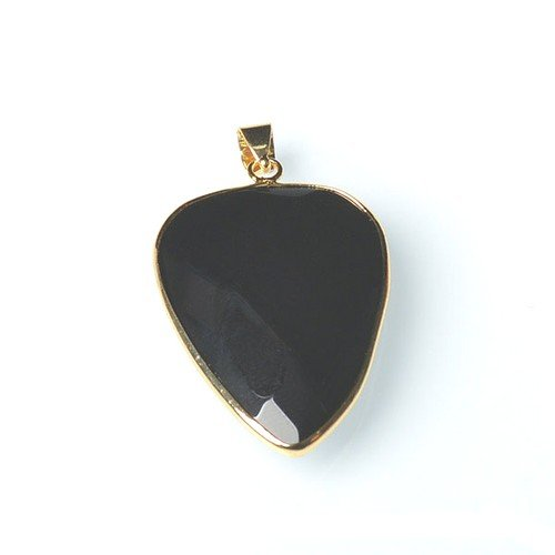 1 x Black Onyx 25 x 35mm Pendant (Faceted Teardrop) - (CB52274) - Charming - Pendant Faceted Onyx