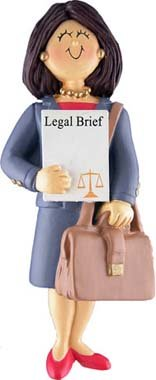 Female Brunette Lawyer Christmas Ornament product image