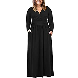 8196206ff3a Nemidor Women s Long Sleeve V-Neck Wrap Waist Plus Size Casual Maxi Dress  with Pocket (Black