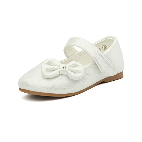 DREAM PAIRS Angel-5 Adorable Mary Jane Side Bow Buckle Strap Ballerina Flat (Toddler/Little Girl) New White Size 6