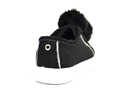SHY38 * Baskets Basses Tennis Sneakers Effet Daim Uni avec Pompons Boule Fourrure - Mode Femme (Noir)