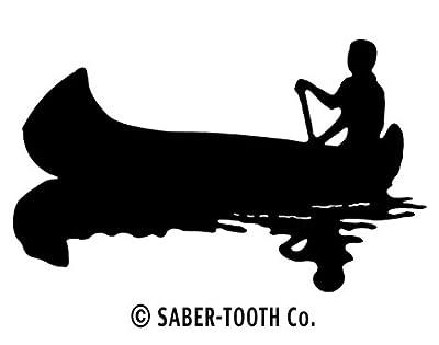 Canoe Black & White Silhouette Decal Sticker ~ Fishing, Camping & Wildlife Series