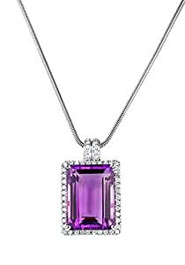 Empress Amethyst and Diamond Pendant with Necklace