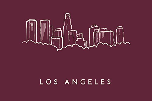 Angeles Pencil Dodgers Los (Laminated Los Angeles City Skyline Pencil Sketch Art Print Sign Poster 18x12 inch)