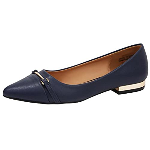 c1aa51e9898 Cambridge Select Women s Closed Pointed Toe Horsebit Low Metallic Block  Heel Slip-On Dress Loafer