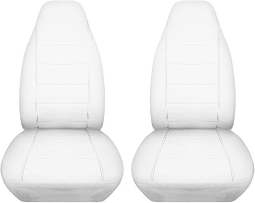 Solid Car Seat Covers: White - Universal Fit - Front - Buckets - Option for Airbag, Seat Belt, Armrest & Seat Release/Lever Compatible (22 Colors)