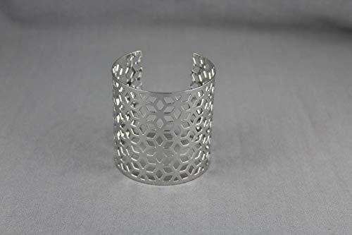 Shiny silver tone metal cuff bracelet 2 3/8 wide honeycomb pattern ()