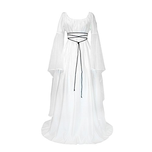 Pevor Womens Renaissance Medieval Irish Gothic Victorian Retro Dress Gown Halloween Costume Cosplay Witch Dress White M -