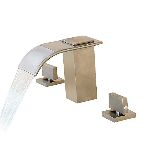 Lovedima Milly Waterfall Modern Widespread Bathroom Sink Faucet Basin Mixer Tap Solid Brass in Brushed Nickel/ORB/Chrome (Brushed Nickel) ()
