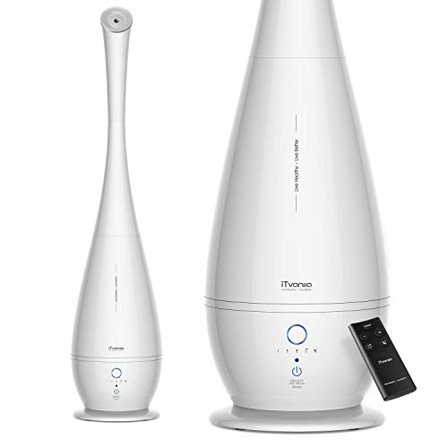 iTvanila Ultrasonic Humidifier, 5l 35inch Cool Mist Air Humidifier, Vaporizer Humidifier, Oil Diffuser Humidifiers for Babies Women Bedroom Home, with Remote, Smart Humidit (White)