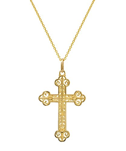 (14K Yellow Gold Orthodox Cut Out Cross Pendant Necklace, 18