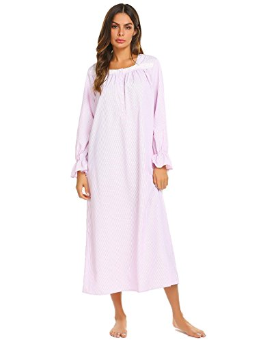 Goldenfox Womens Loose Fit Cotton Ruffled Lace Hem Sleep Dress with Long Sleeves (Pink, ()