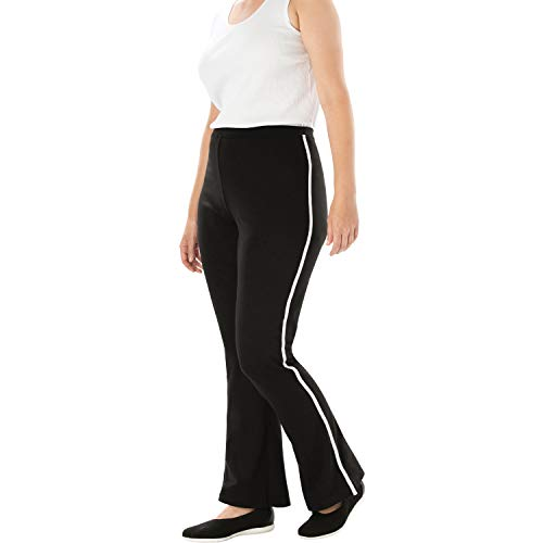 Pants Bootcut Stripe - Woman Within Women's Plus Size Stretch Cotton Side-Stripe Bootcut Yoga Pant - Black White, 2X