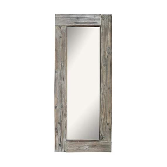 Barnyard Designs Long Decorative Wall Mirror, Rustic Distressed Unfinished Wood Frame, Vertical and Horizontal Hanging… - FULL LENGTH FLOOR OR HANGING WALL MIRROR - The generous size of this long, full length wood framed mirror makes it functional as well as decorative. Perfect to lean against the wall as a body mirror or mounted on the wall. This mirror comes with pre-installed wall mounting hooks. DECORATIVE ACCENT MIRROR - A large statement piece that will open up a room and create the illusion of space, this rustic barn wood leaning or wall mirror will add timeless appeal and style to your home. Perfect addition to an entryway, living room or bedroom. UNFINISHED WOOD DESIGN - Lend a vintage-inspired look to your home decor with this big standing farmhouse mirror. A rectangular unfinished natural-looking wood frame complements the rustic theme - mirrors-bedroom-decor, bedroom-decor, bedroom - 31r3cBpFMPL. SS570  -