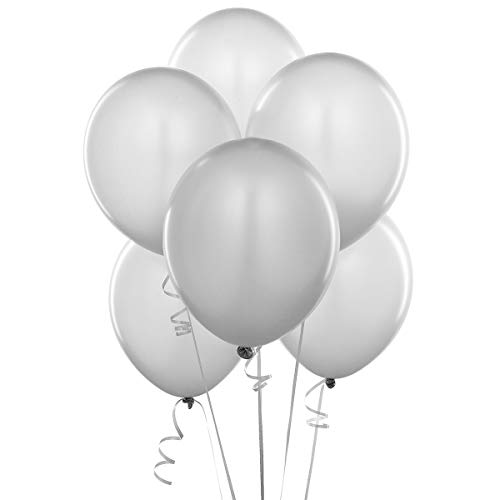 12 Inch Pearlized Latex Balloons (Premium Helium Quality), Pack of 100, Metallic Silver