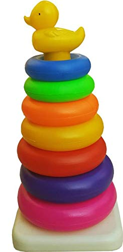 Shuangyou Plastic Duck Stacking Ring Super Stack Up Educational Toy Multicolour (Jumbo 7 Rings, 1 Base, 1 Stand, 1 Duck )