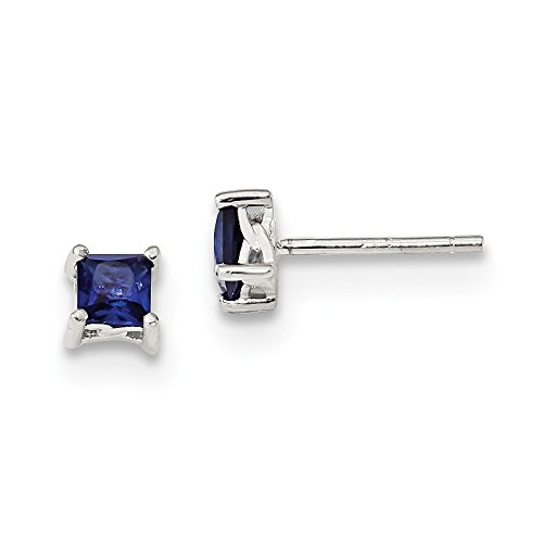 (925 Sterling Silver 4mm Princess Created Sapphire Post Stud Earrings Birthstone September Prong Fine Jewelry Gifts For Women For Her)