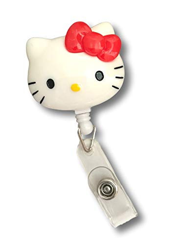 (Cute Cartoon Retractable Badge Reel for ID and Name Tag Holder with Belt Clip (Hello Kitty))