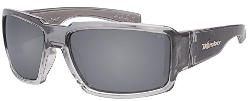Bomber Sunglasses - Boogie Bomb 2 Tn Crystal Smoke Frm/Silver Mirror ANSI Z87+ safety Lens/Gray Foam (Floating Bomber)
