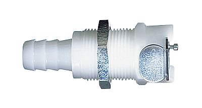 CPC (Colder) PLCD16006 Quick-Disconnect Panel-Mount Hose Barb Fitting Body; Valved, 3/8'' Tube ID, Acetal
